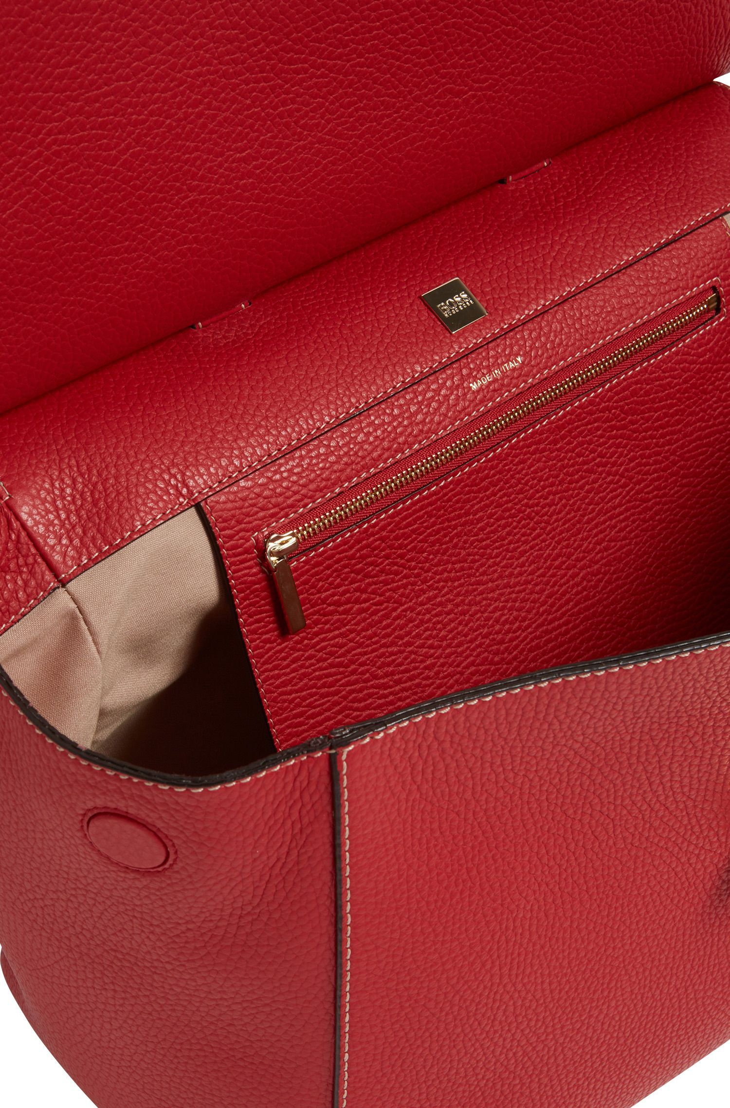 'BOSS Bespoke Soft M' | Leather Grained Satchel Handbag, Red