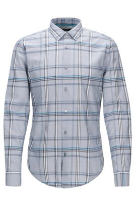 Plaid Cotton Button Down Shirt, Slim Fit | Ronni, Light Grey