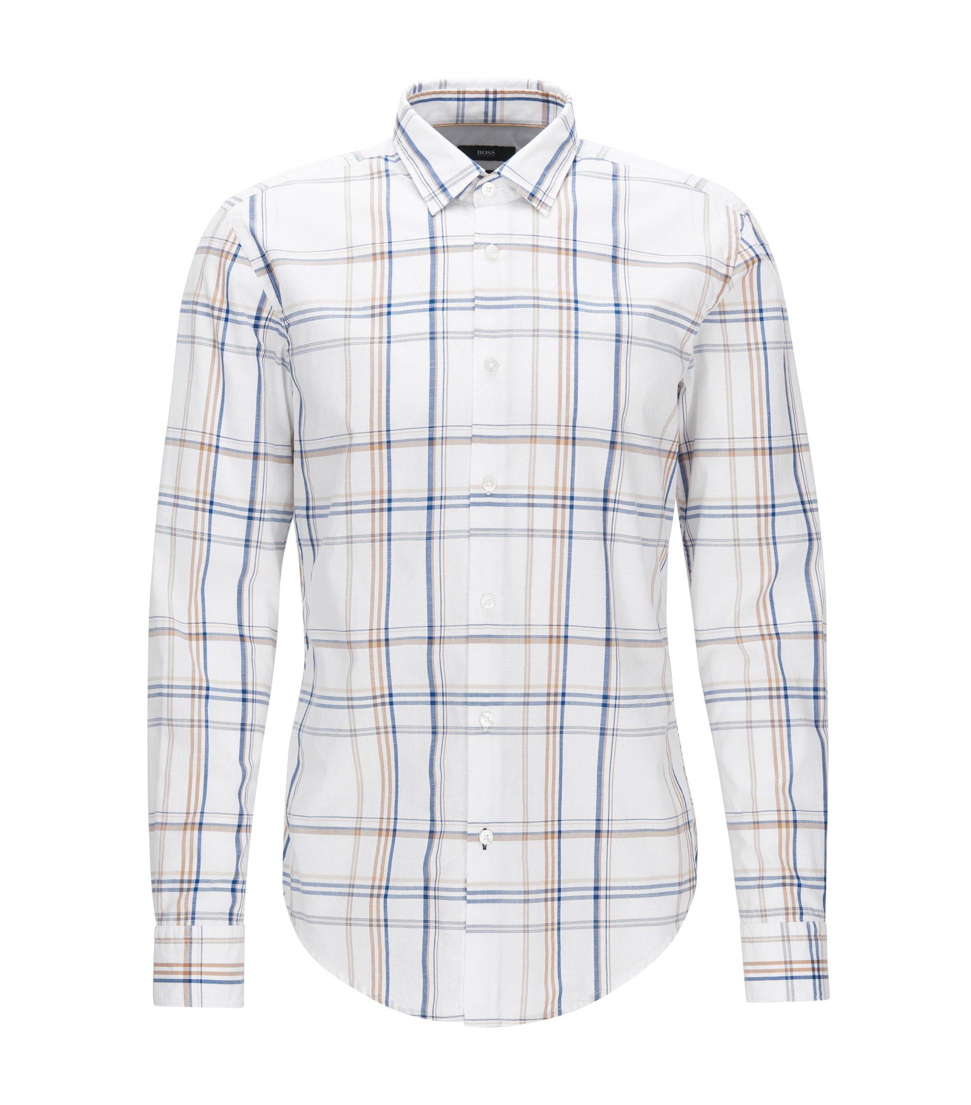 Plaid Cotton Button Down Shirt, Slim Fit | Ronni, White