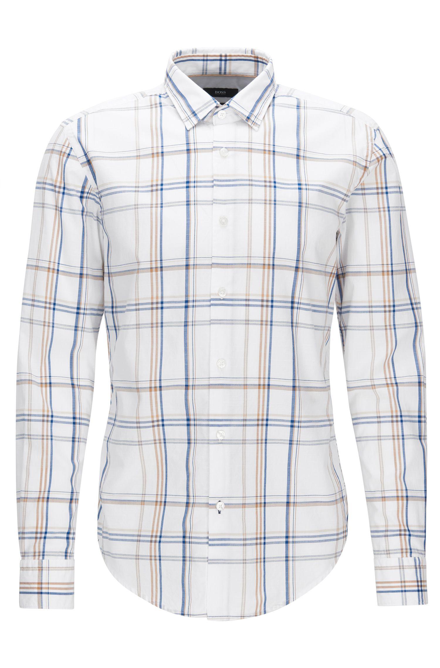 'Ronni H' | Slim Fit, Plaid Cotton Button Down Shirt