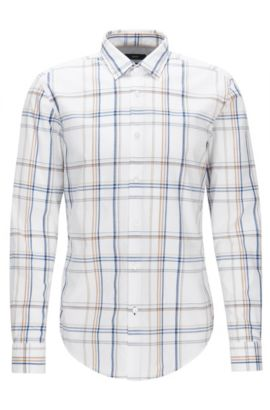 Plaid Cotton Button Down Shirt, Slim Fit | Ronni, White
