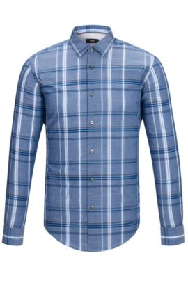 'Ronni H' | Slim Fit, Plaid Cotton Button Down Shirt, Dark Blue