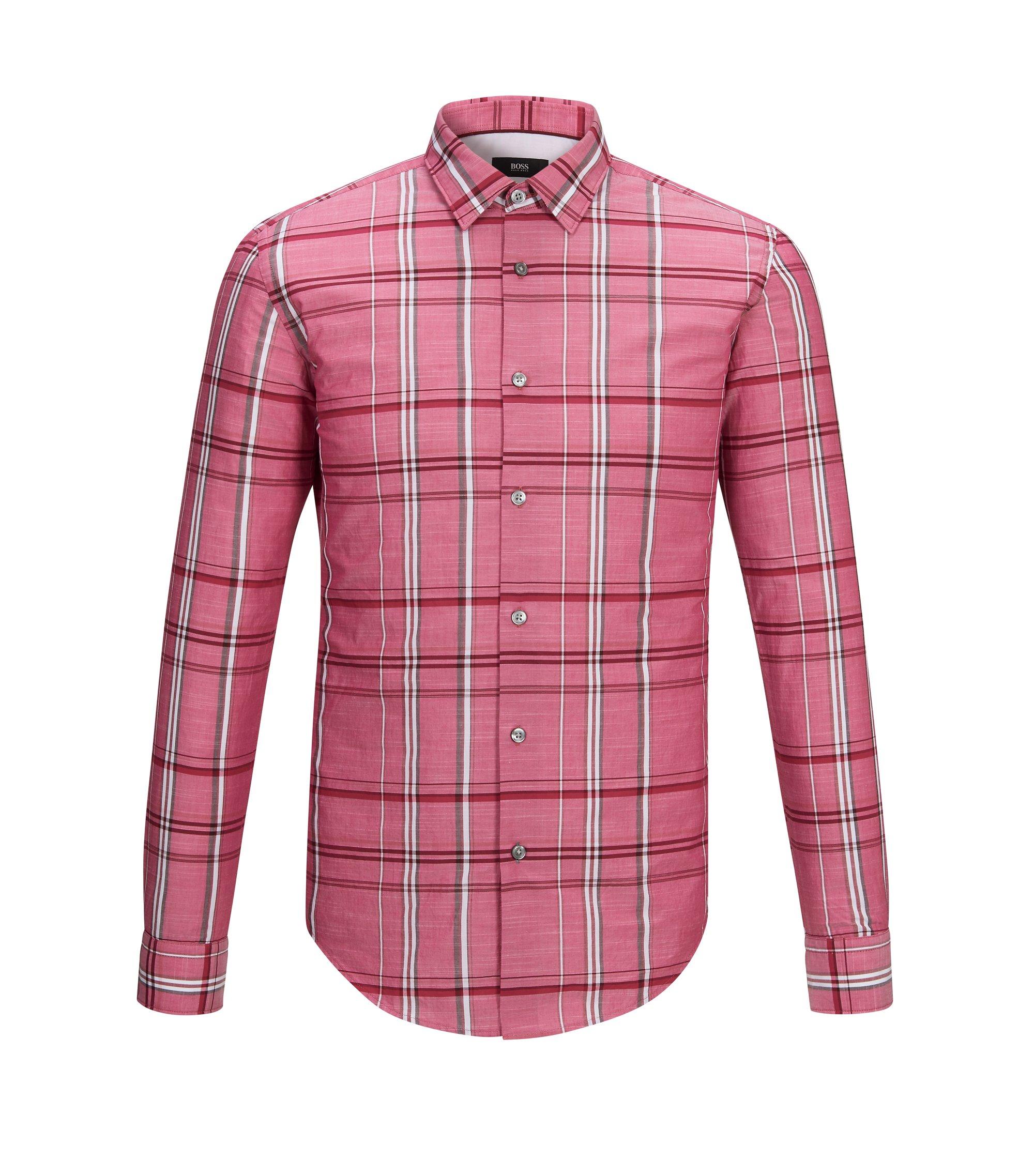 Plaid Cotton Button Down Shirt, Slim Fit | Ronni, Red