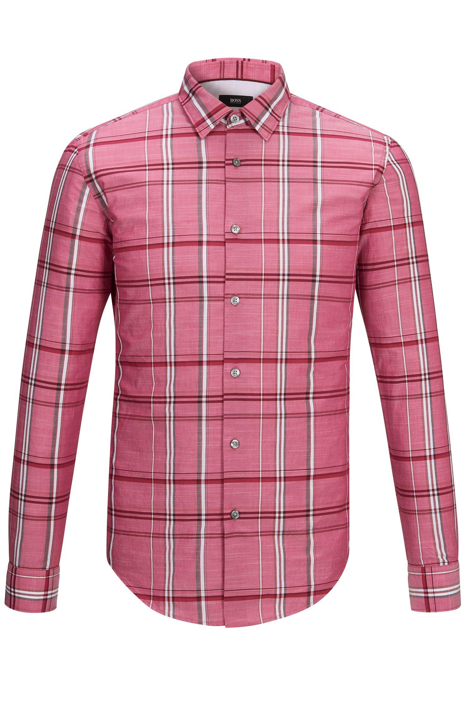 Plaid Cotton Button Down Shirt, Slim Fit   Ronni