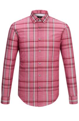 Plaid Cotton Button Down Shirt, Slim Fit | Ronni, Red