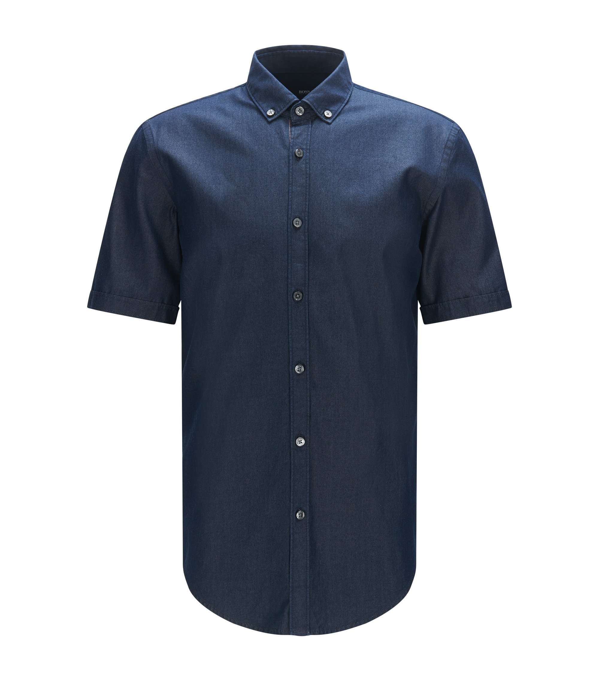 Chambray Cotton Button Down Shirt, Slim Fit | Rik, Dark Blue
