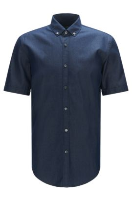 'Rik' | Slim Fit, Chambray Cotton Button Down Shirt, Dark Blue