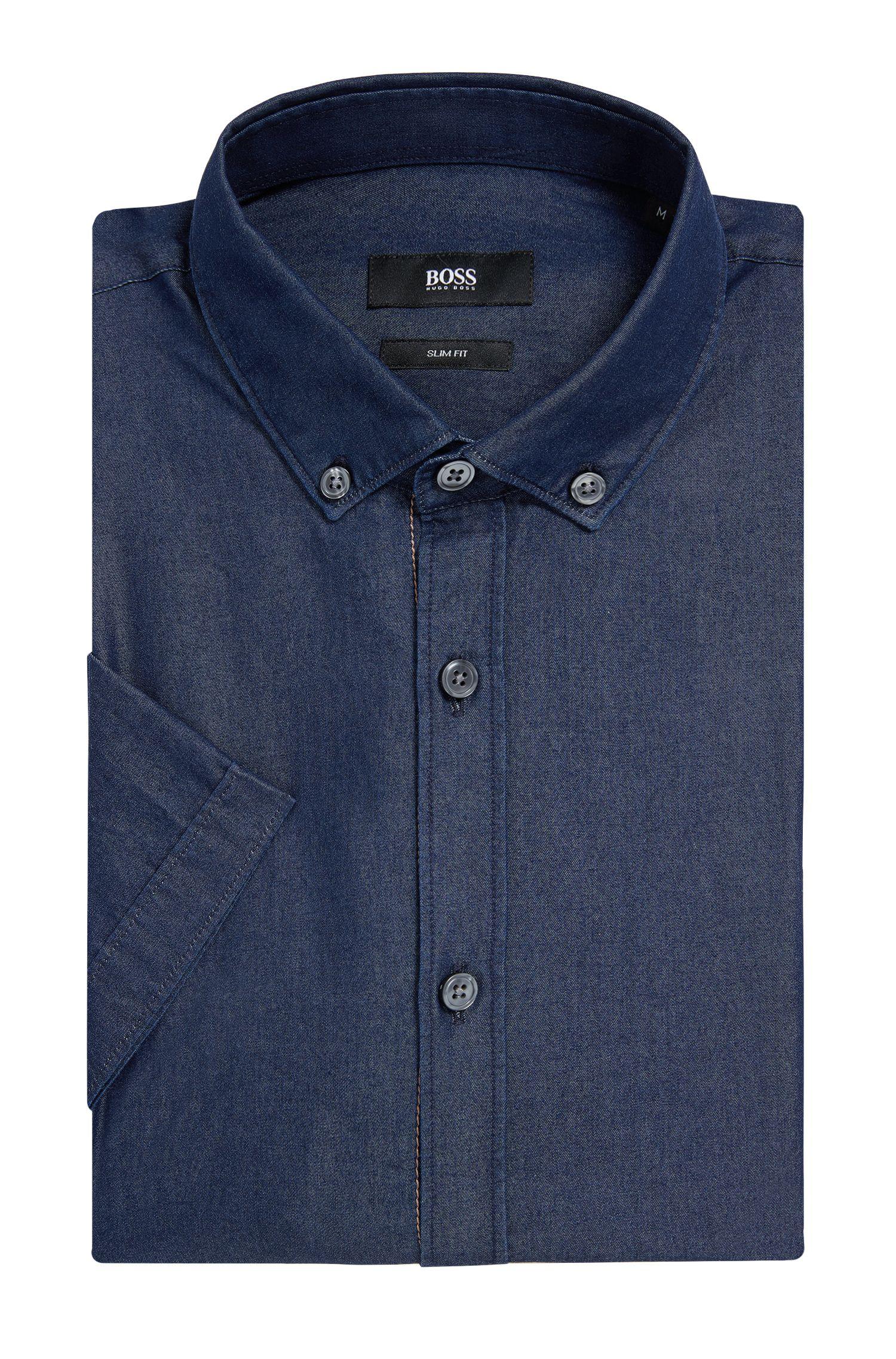 Chambray Cotton Button Down Shirt, Slim Fit | Rik