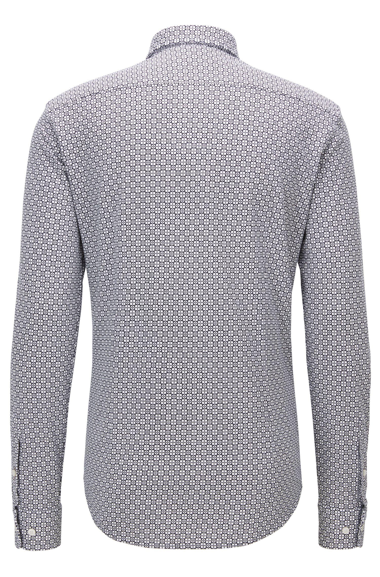 Square-Print Cotton Button Down Shirt, Slim Fit | Ronni, Dark Blue