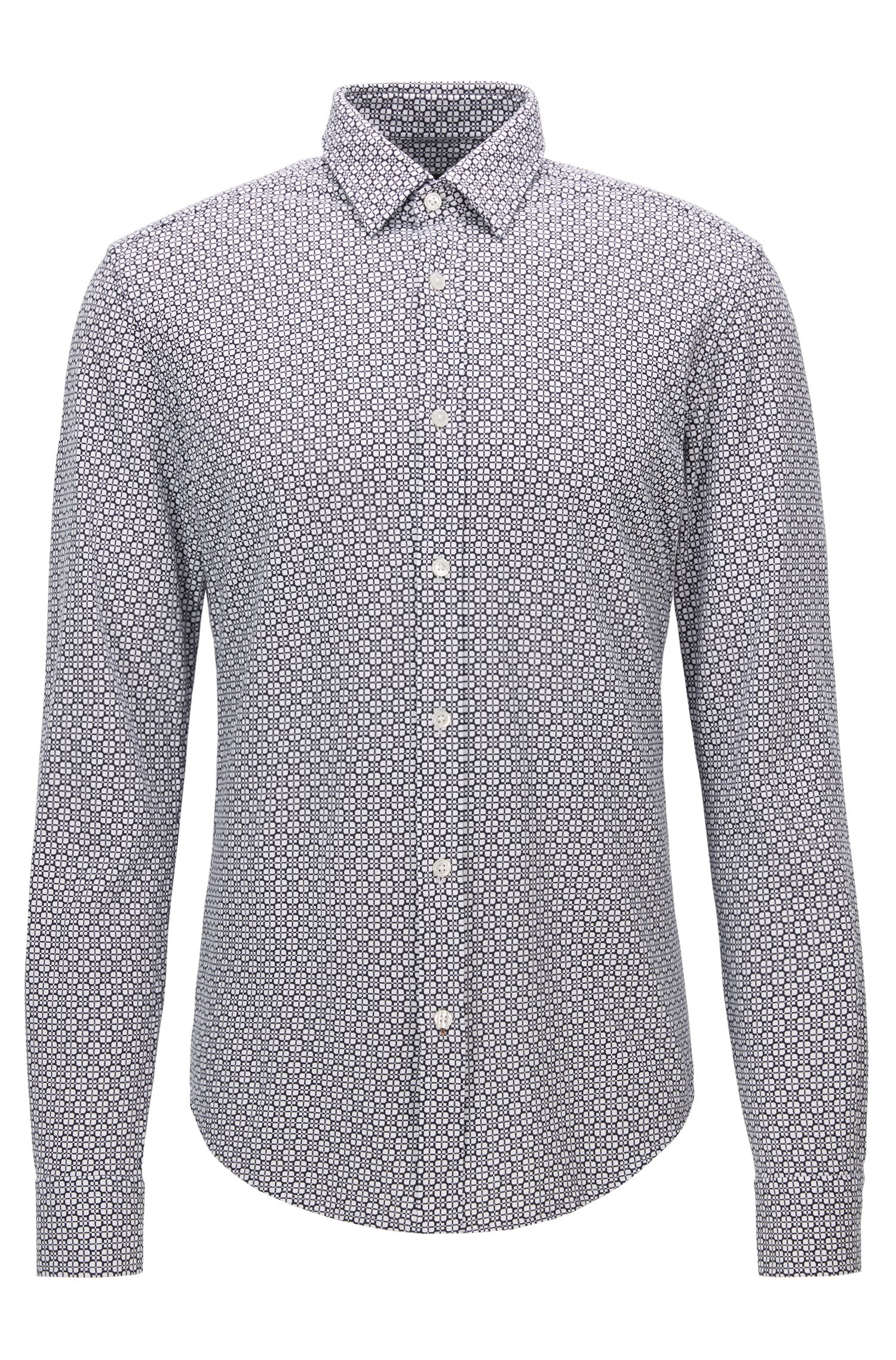 Square-Print Cotton Button Down Shirt, Slim Fit | Ronni