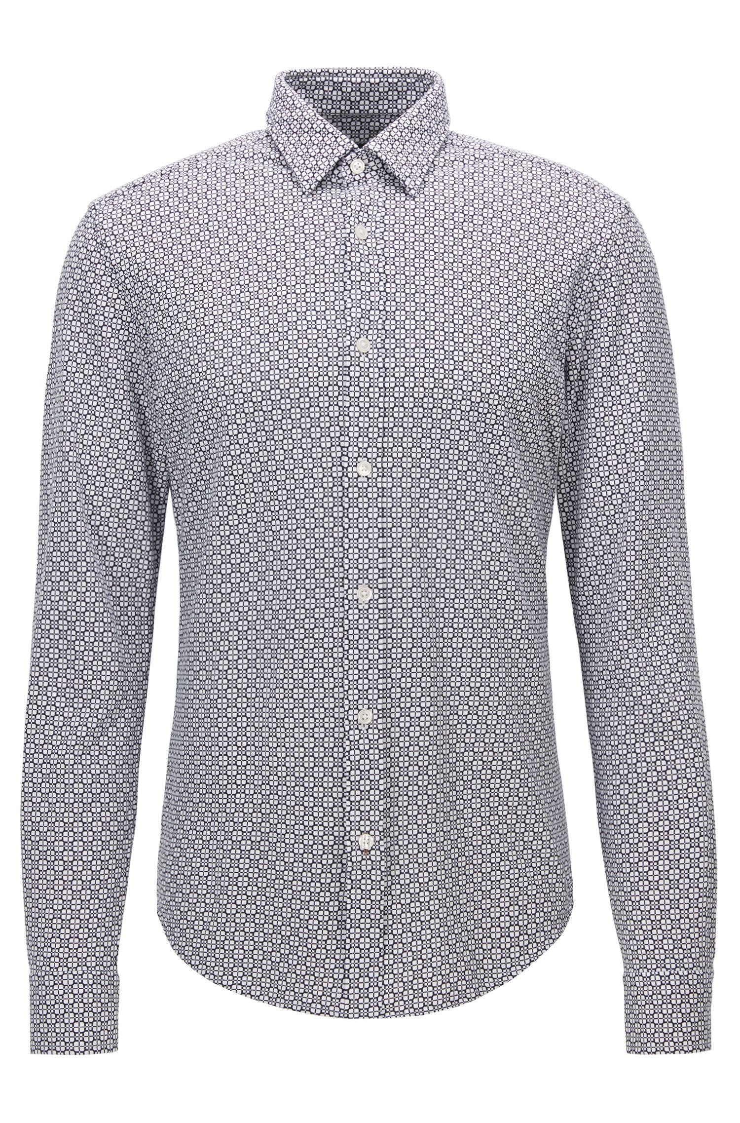 Square-Print Cotton Button Down Shirt, Slim Fit | Ronni