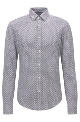 'Ronni' | Slim Fit, Square-Print Cotton Button Down Shirt, Dark Blue