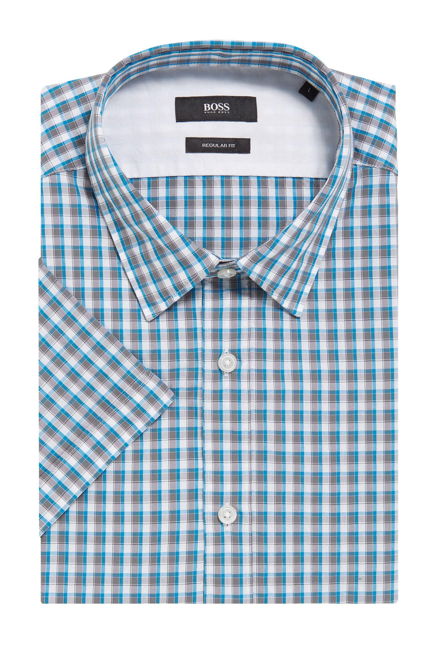 Check Cotton Button Down Shirt, Regular Fit | Luka, Open Grey