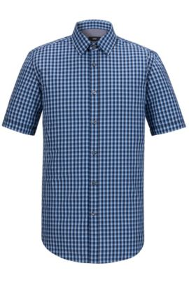 'Luka' | Regular Fit, Check Cotton Button Down Shirt, Dark Blue