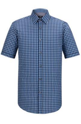 'Luka' | Regular Fit, Check Cotton Button Down Shirt, Dark Blue