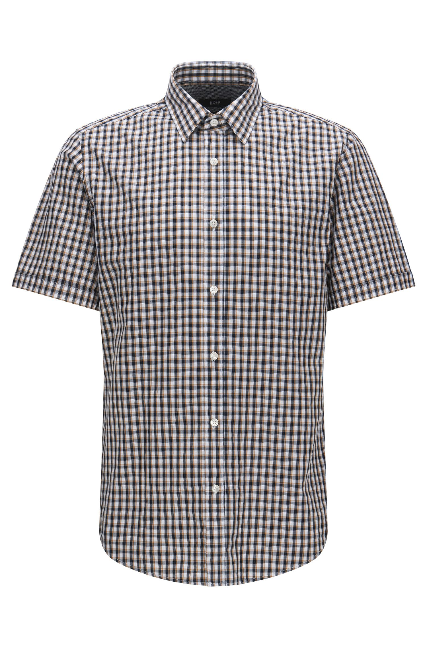 Check Cotton Button Down Shirt, Regular Fit | Luka