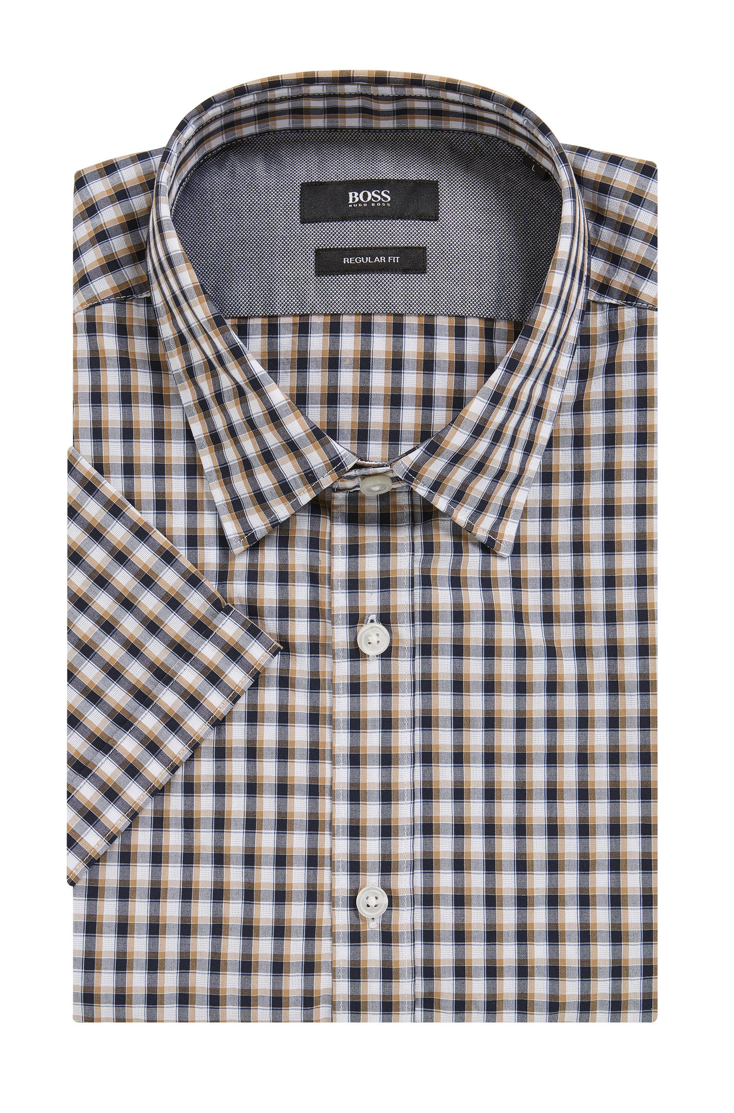 Check Cotton Button Down Shirt, Regular Fit | Luka, Dark Blue
