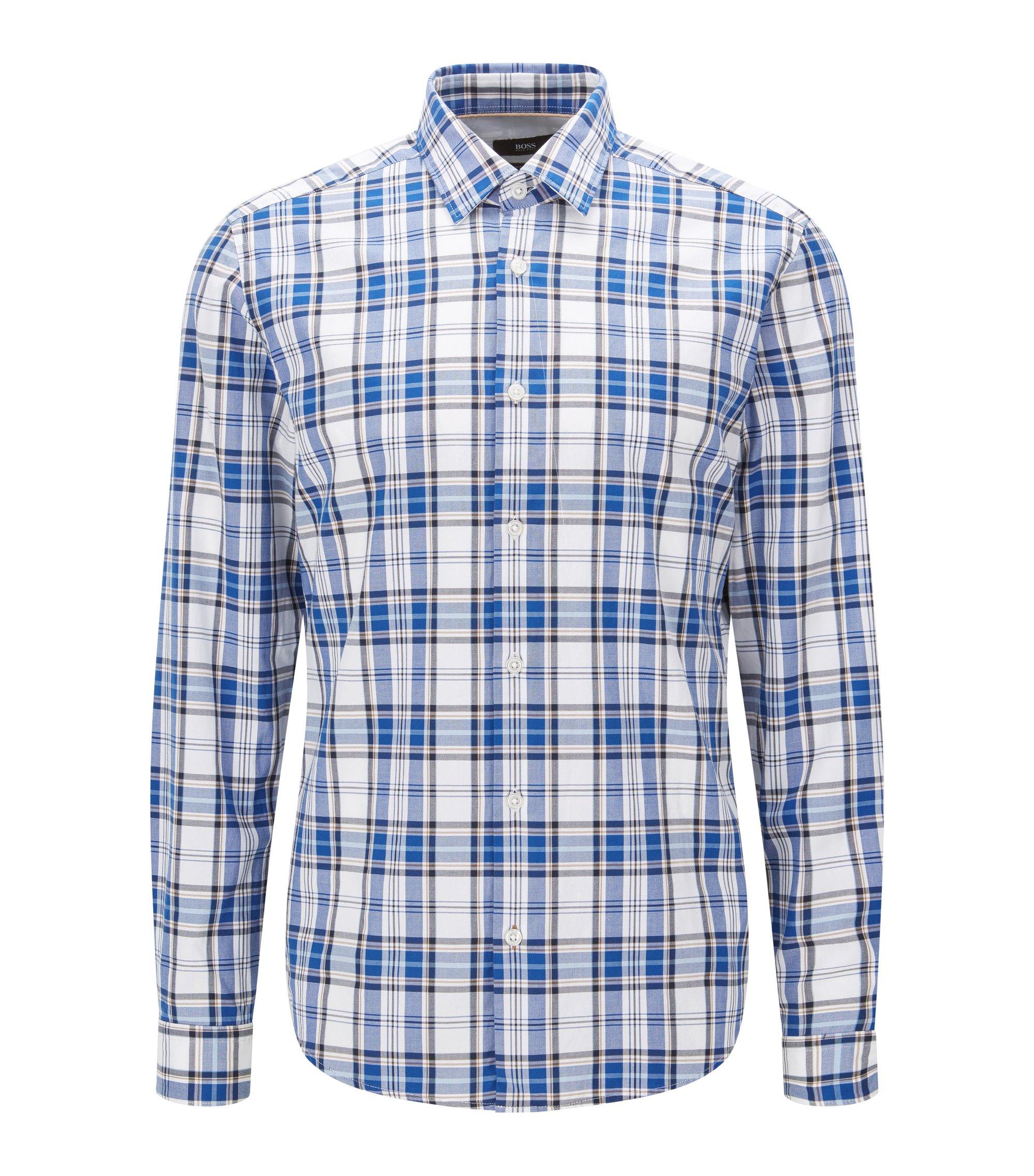 Plaid Cotton Button Down Shirt, Regular Fit   Lance, Dark Blue
