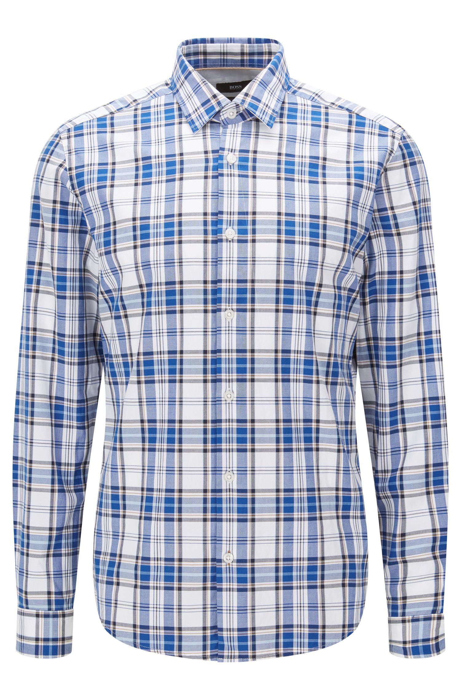 Plaid Cotton Button Down Shirt, Regular Fit | Lance