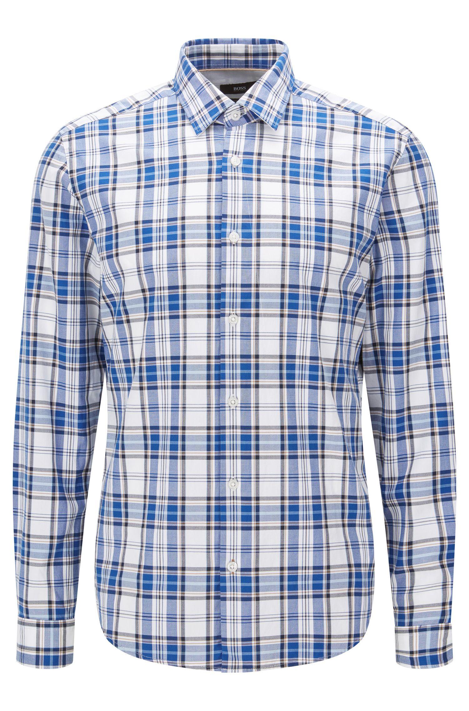 Plaid Cotton Button Down Shirt, Regular Fit | Lance