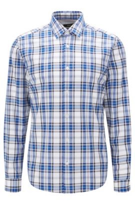 'Lance' | Regular Fit, Plaid Cotton Button Down Shirt , Dark Blue
