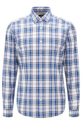 'Lance' | Regular Fit, Plaid Cotton Button Down Shirt , Dark Blue