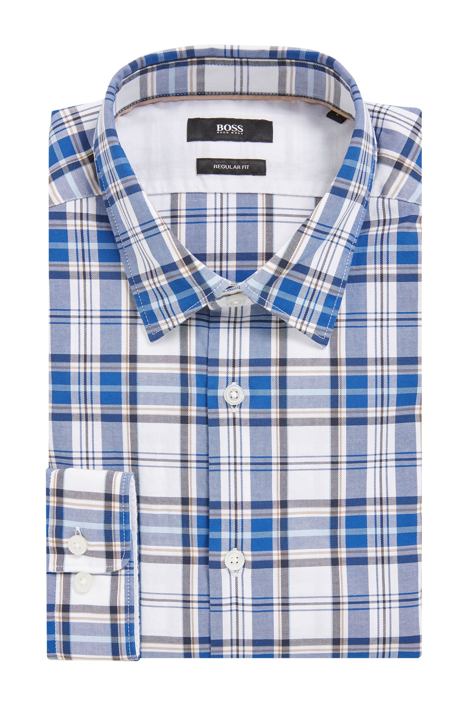 Plaid Cotton Button Down Shirt, Regular Fit | Lance, Dark Blue