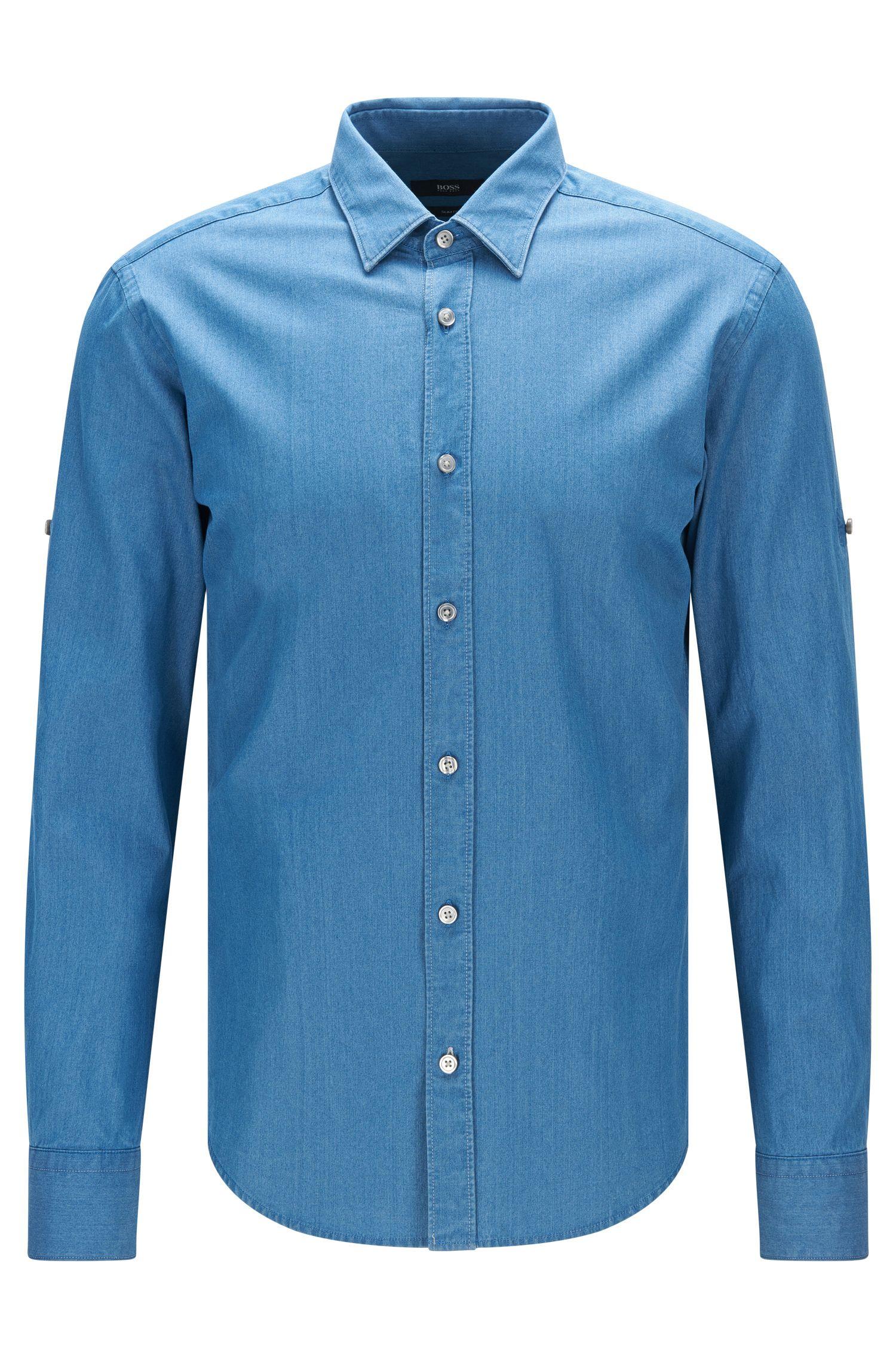 Chambray Cotton Button Down Shirt, Slim Fit | Reid