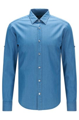 'Reid' | Slim Fit, Chambray Cotton Button Down Shirt, Turquoise