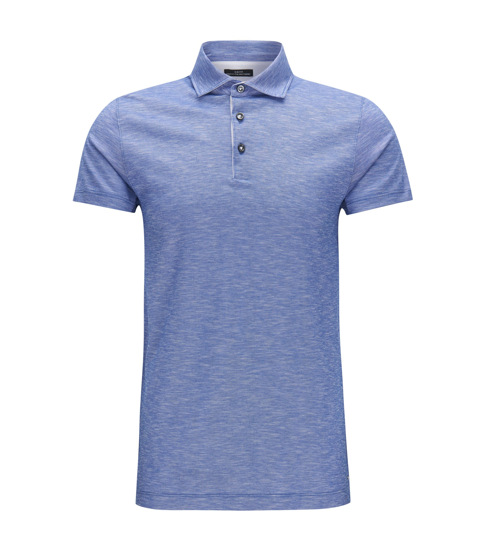 Italian Cotton Polo Shirt, Slim Fit | T-Pryde, Open Blue