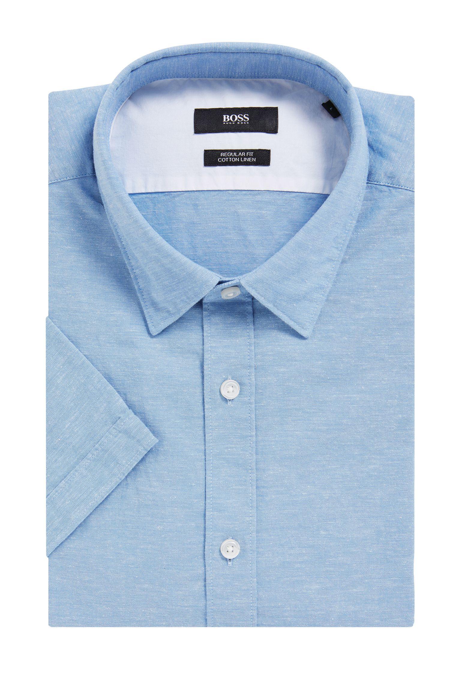 Cotton Linen Button Down Shirt, Regular Fit | Luka