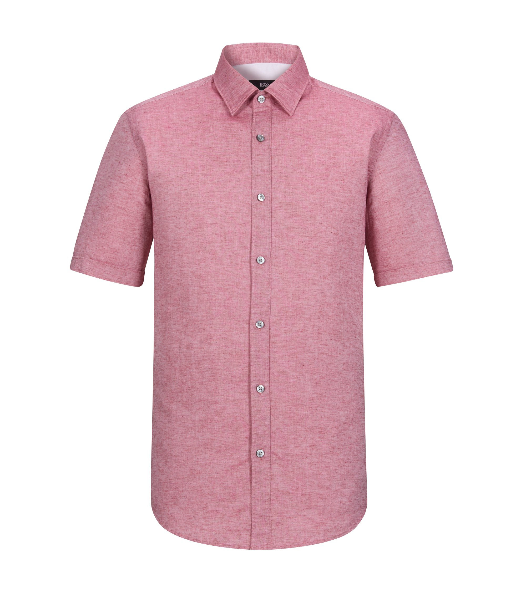 Cotton Linen Button Down Shirt, Regular Fit | Luka, Red