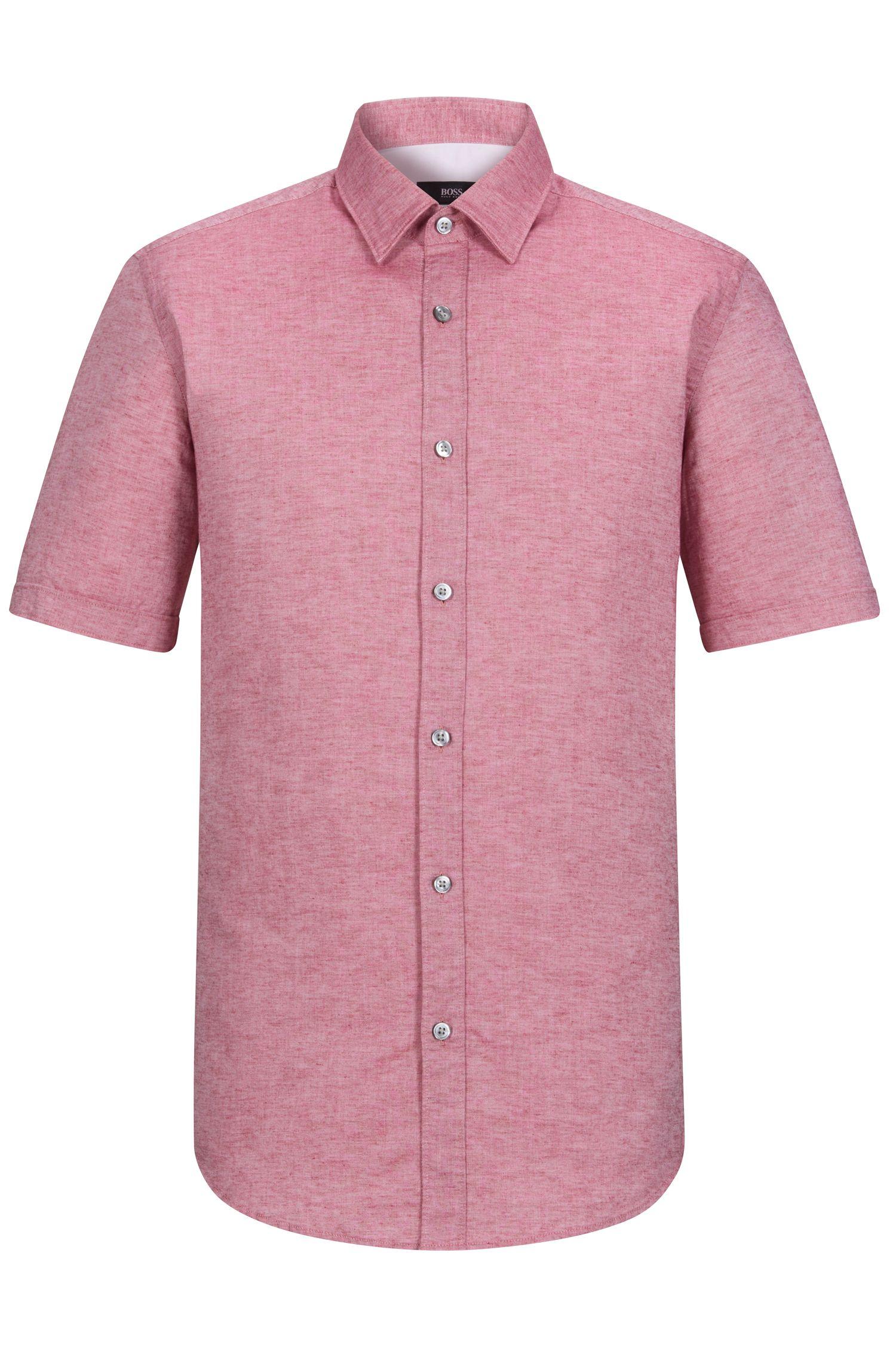 Cotton Linen Button Down Shirt, Regular Fit   Luka