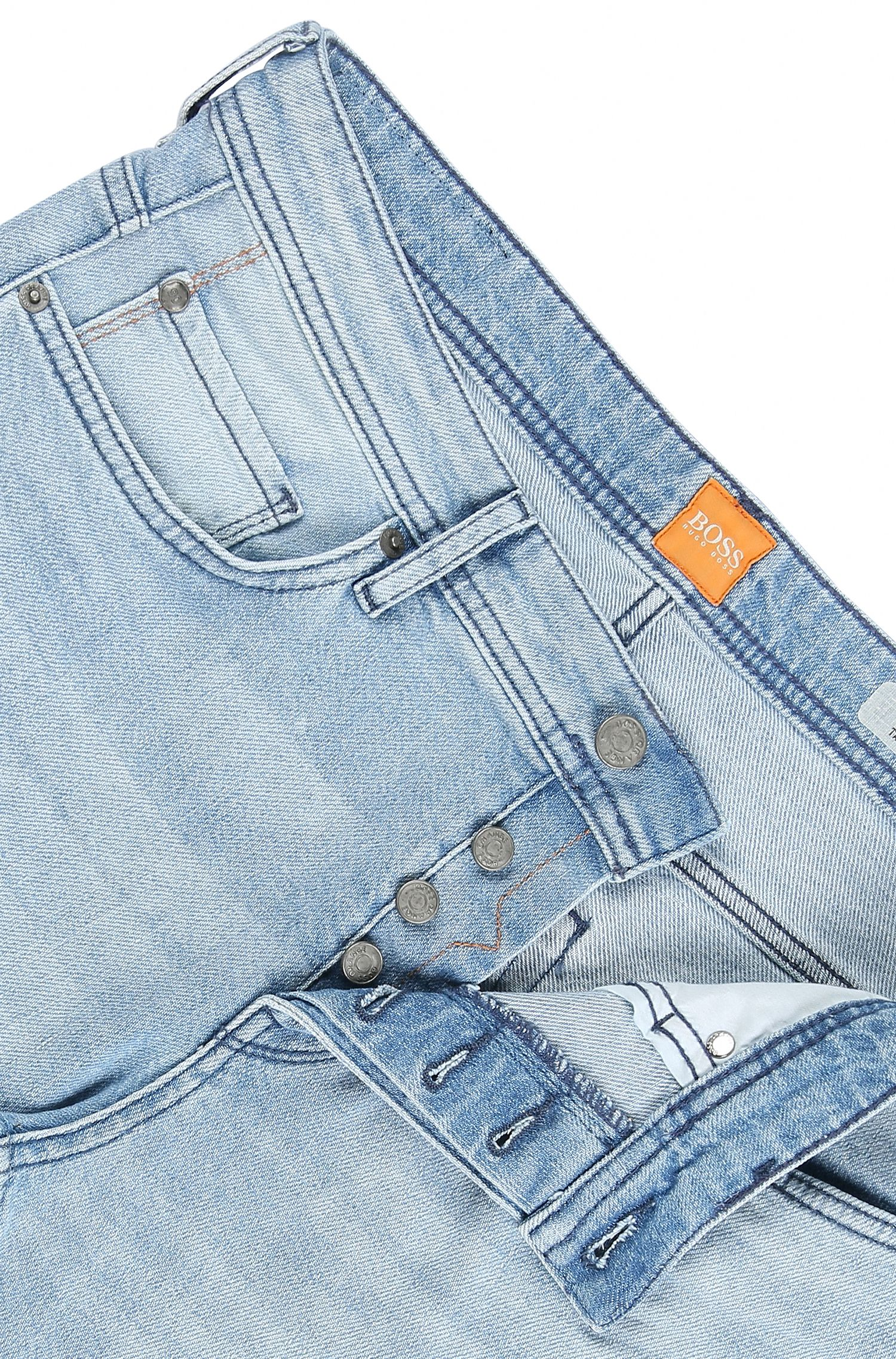 Stretch Cotton Jeans, Tapered Fit | Orange90, Blue