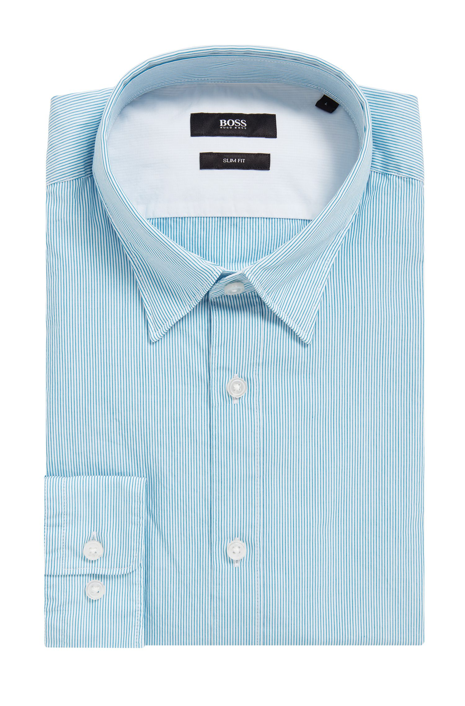 Striped Cotton Button Down Shirt, Slim Fit | Rog, Light Blue