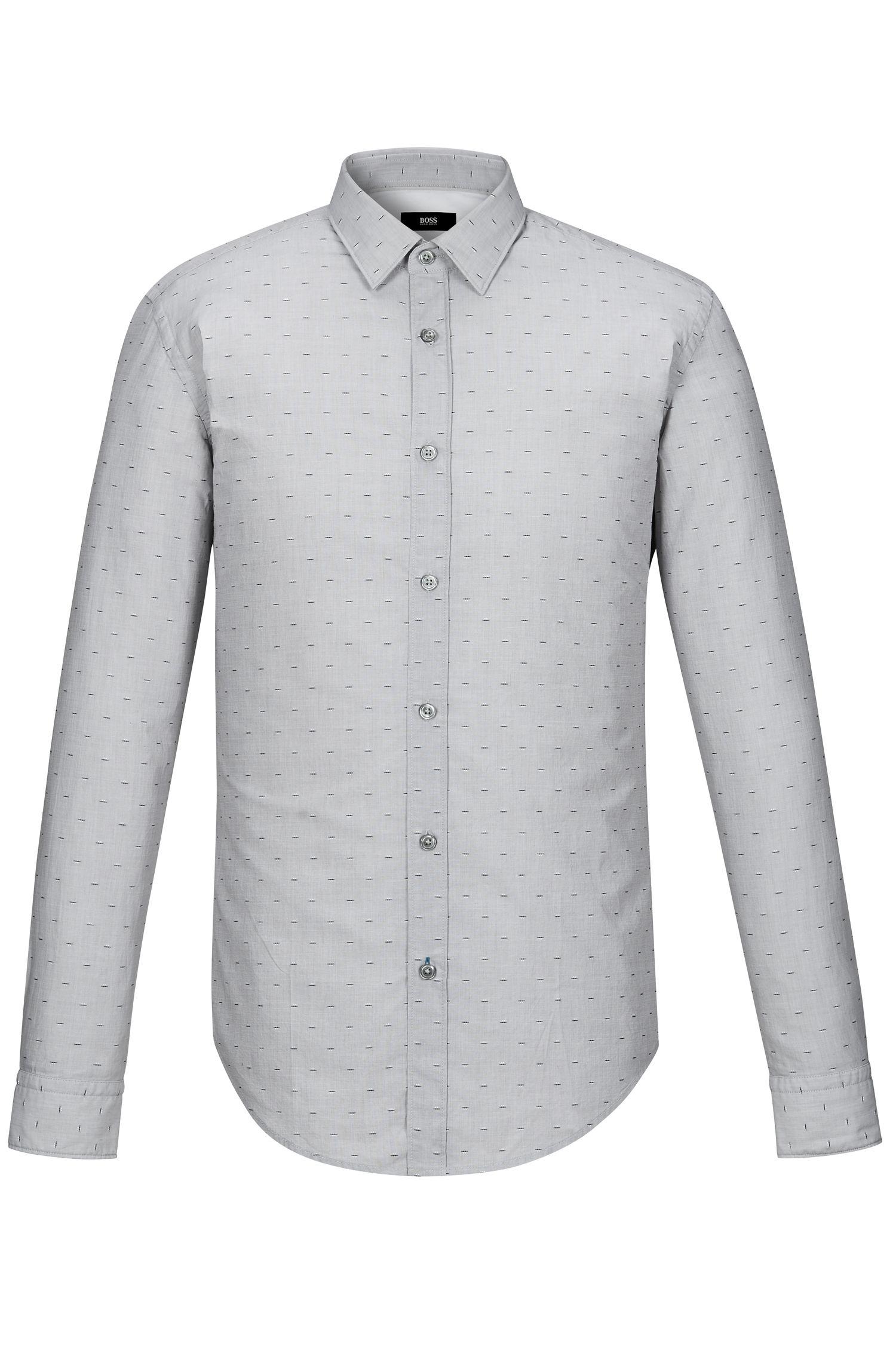 Fil Coupé Cotton Poplin Button Down Shirt, Slim Fit | Ronni