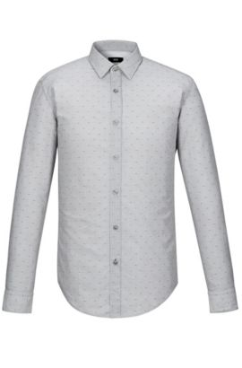 'Ronni' | Slim Fit, Fil Coupé Cotton Poplin Button Down Shirt, Open Grey