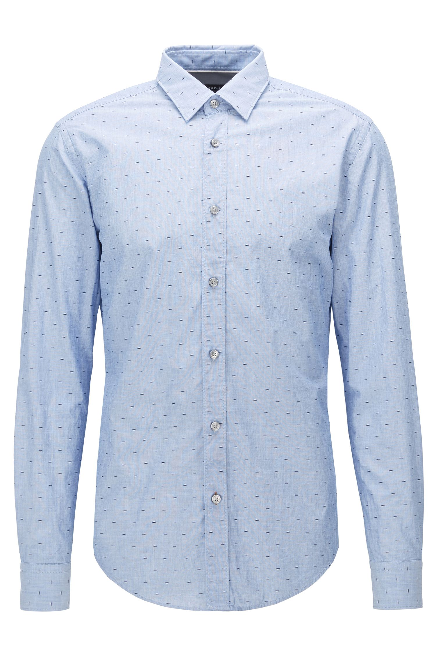 Fil Coupé Cotton Button Down Shirt, Slim Fit | Ronni, Dark Blue