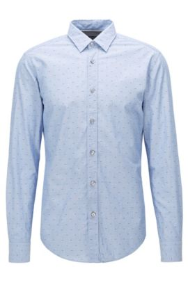 'Ronni' | Slim Fit, Fil Coupé Cotton Poplin Button Down Shirt, Dark Blue