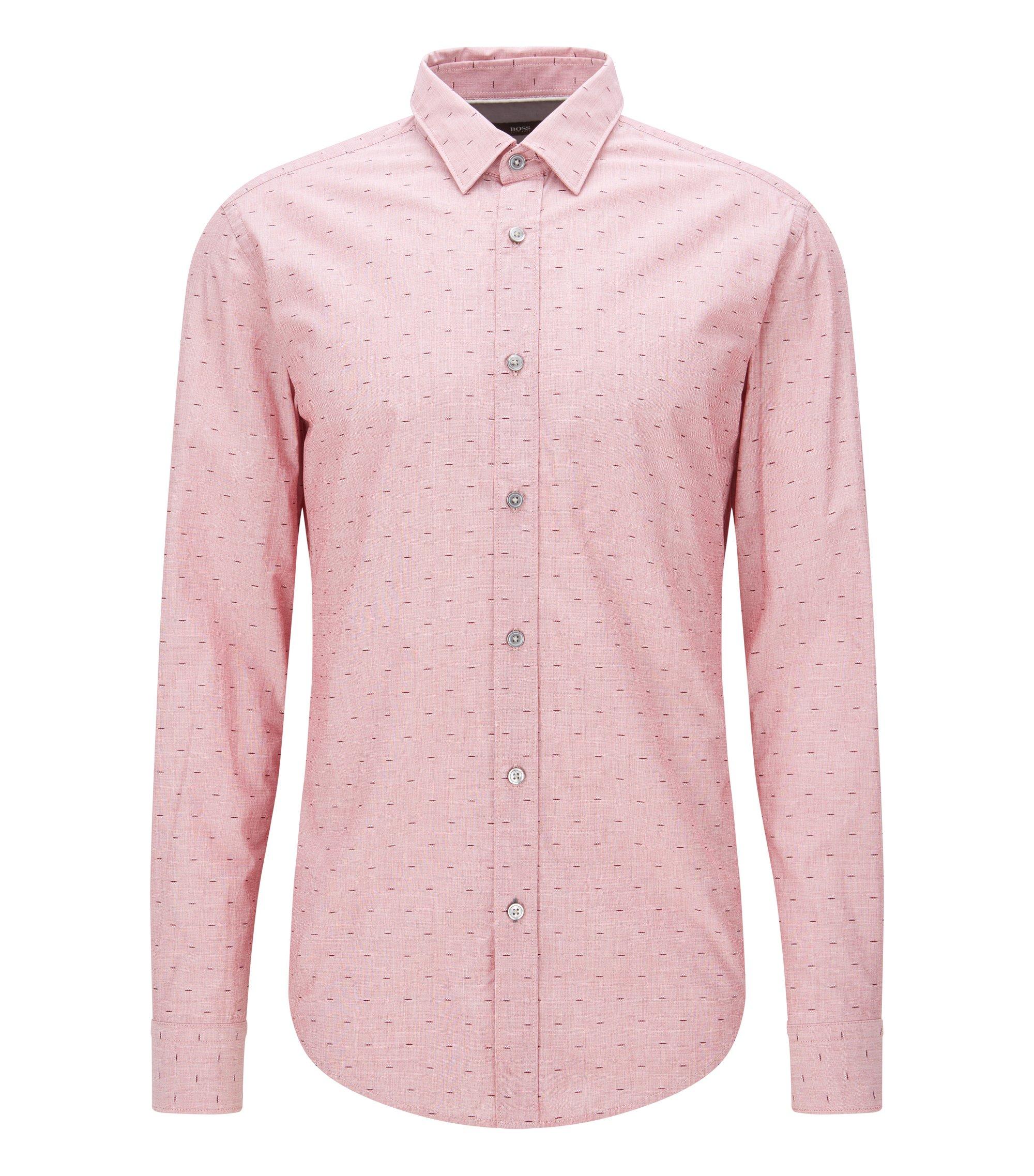 Fil Coupé Cotton Button Down Shirt, Slim Fit | Ronni, Red