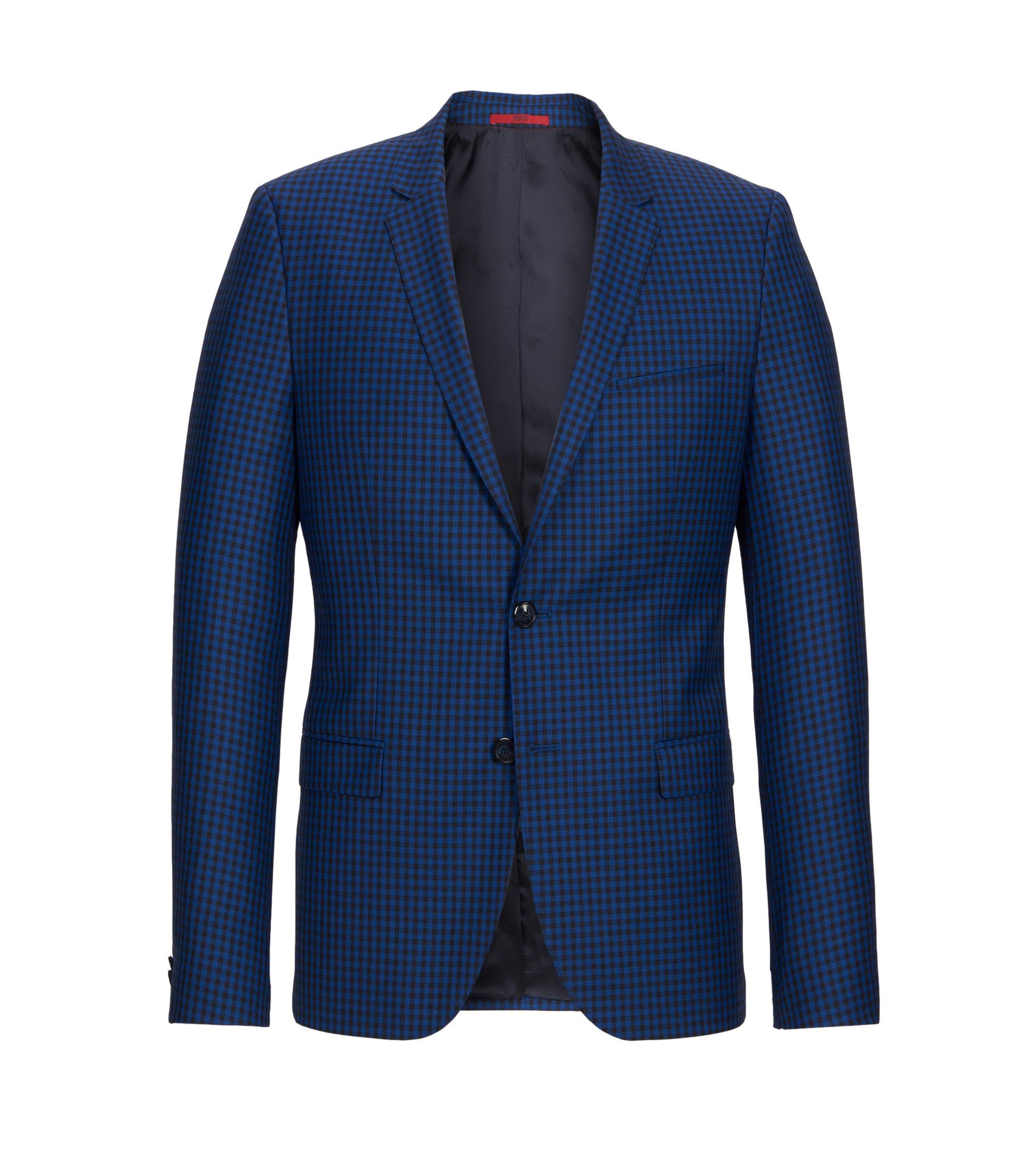 Gingham Virgin Wool Sport Coat, Slim Fit | Arti, Open Blue