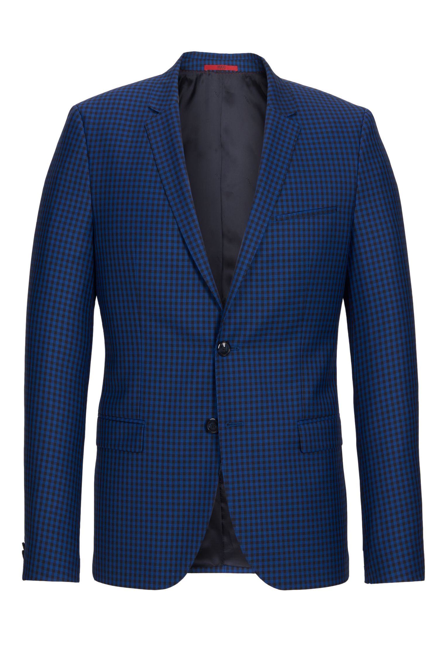 Gingham Virgin Wool Sport Coat, Slim Fit | Arti, Open Blue