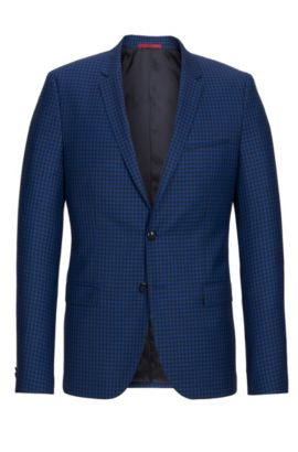 'Arti' | Slim Fit, Gingham Virgin Wool Sport Coat, Open Blue