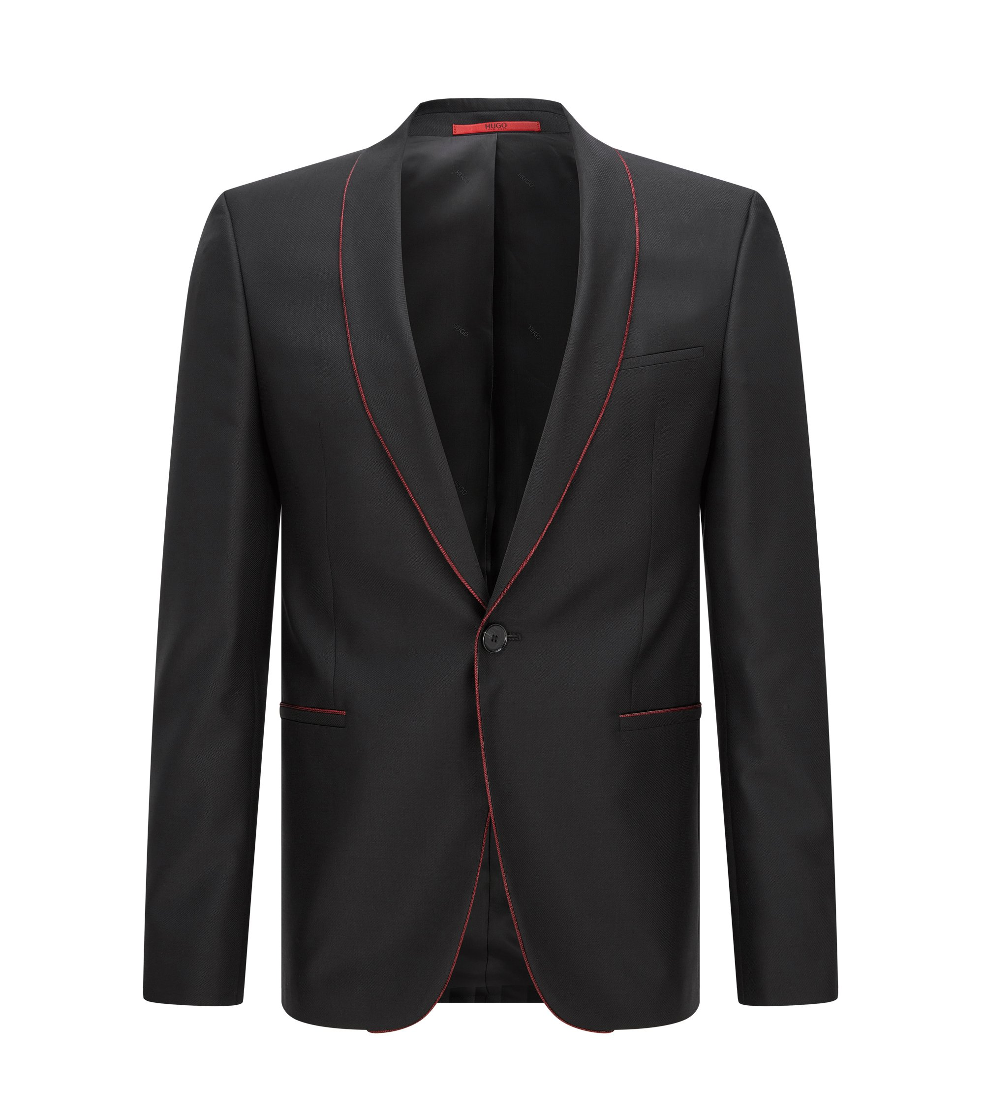 Contrast Virgin Wool Blend Sport Coat, Slim Fit | Arins, Black