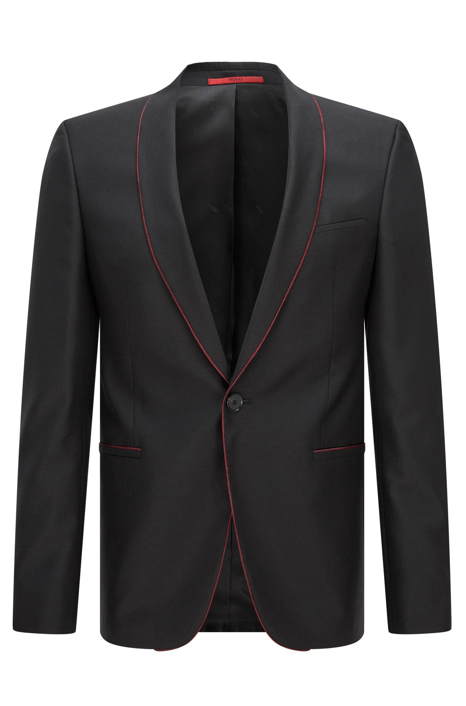 Contrast Virgin Wool Blend Sport Coat, Slim Fit   Arins, Black