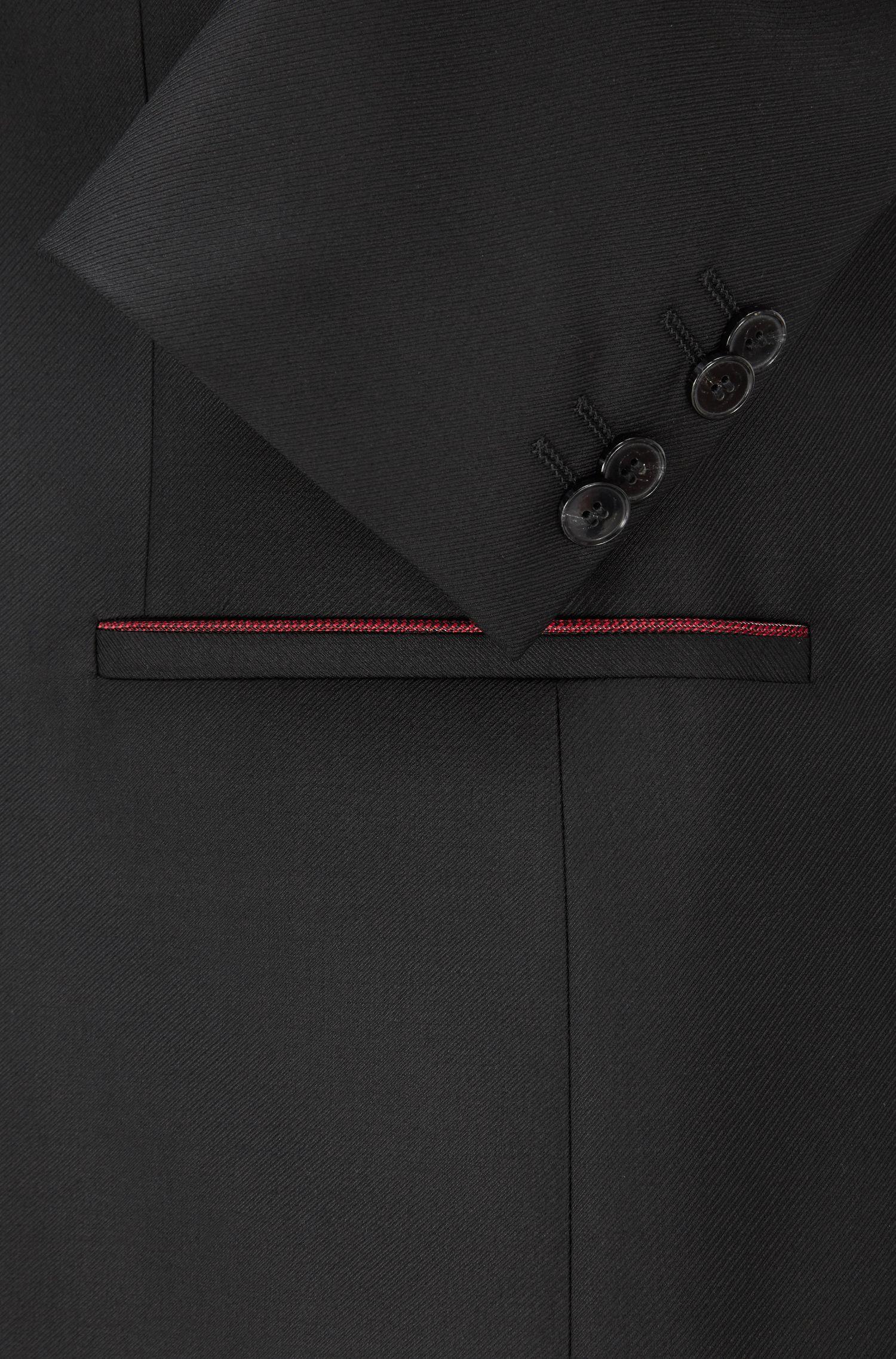 Contrast Virgin Wool Blend Sport Coat, Slim Fit | Arins, Black
