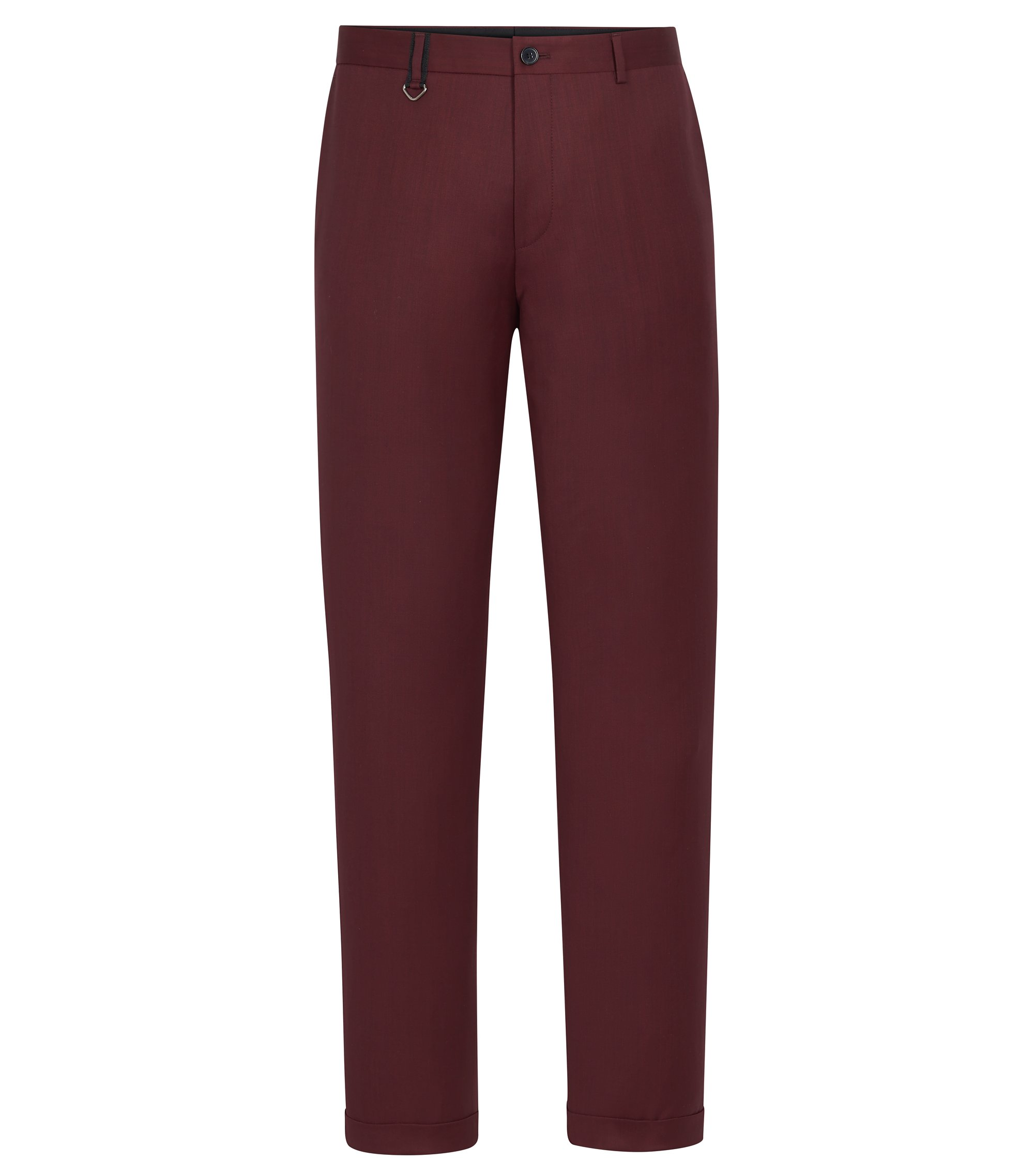 Virgin Wool Dress Pant, Slim Fit | Hielson, Dark Red