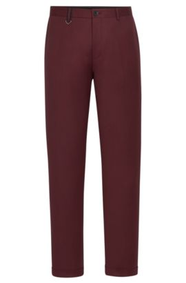 'Hielson' | Slim Fit, Virgin Wool Dress Pants, Dark Red