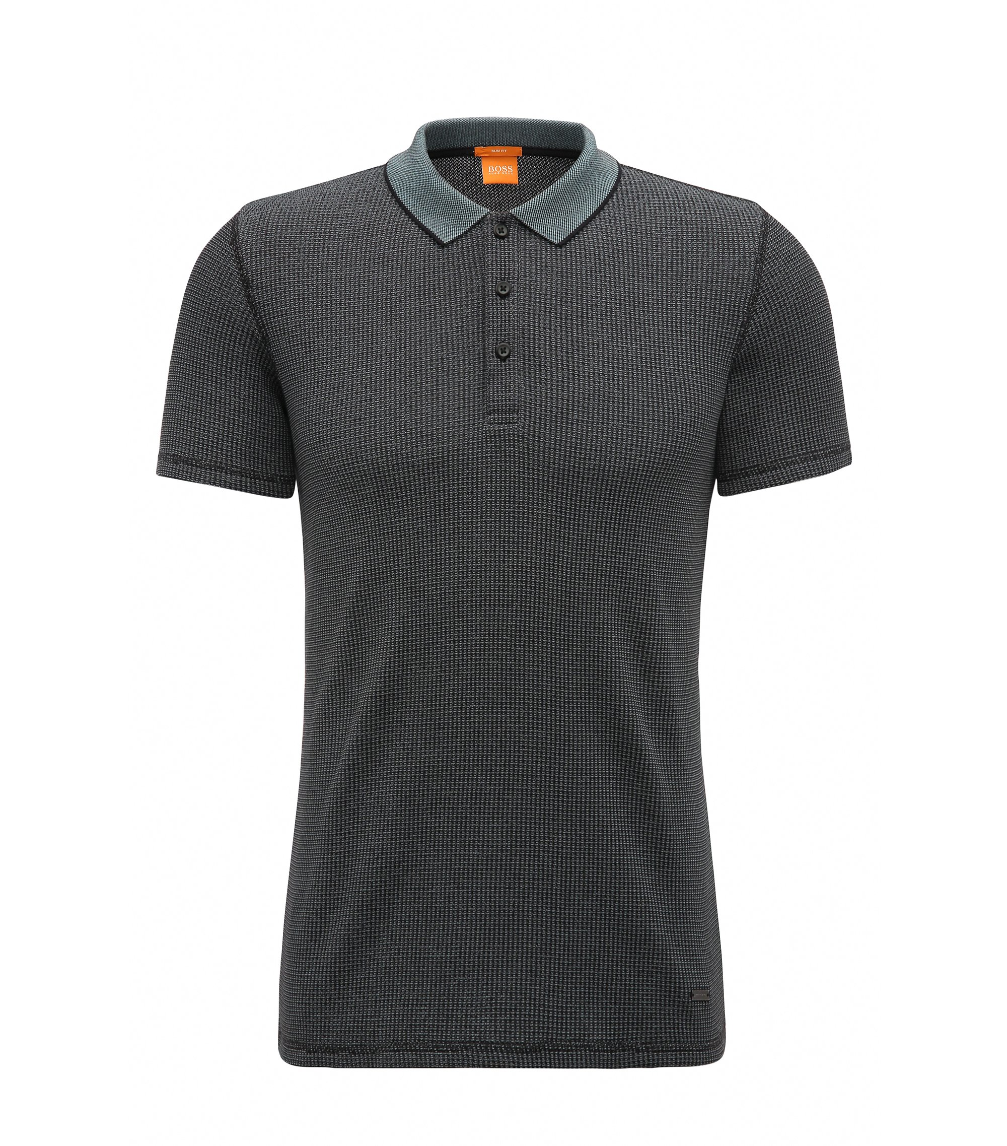 Knit Cotton Blend Polo Shirt, Slim Fit | Poser, Black
