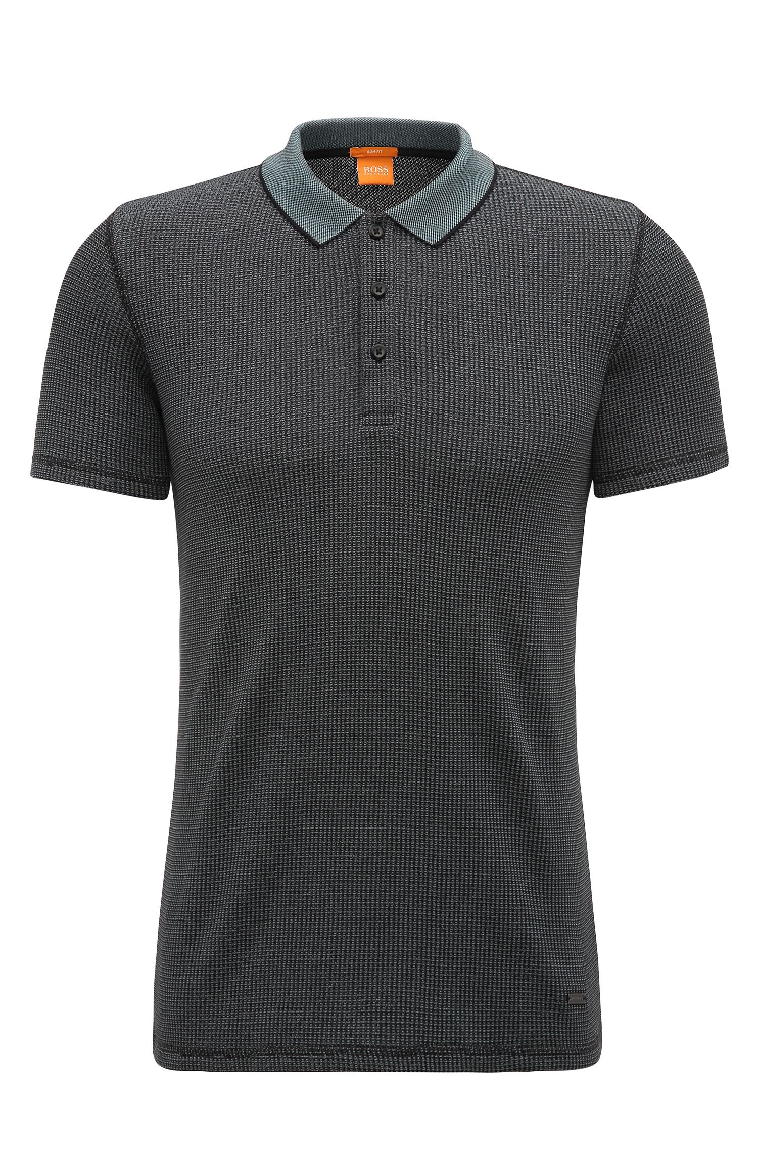 Knit Cotton Blend Polo Shirt, Slim Fit | Poser